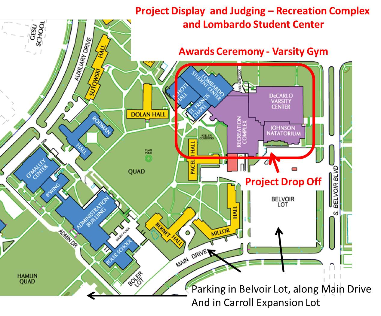 John Carroll University Campus Map.Map And Directions To The Fair